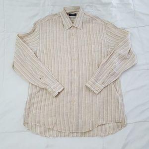 Canali Casual Shirt Mens Medium Linen Tan